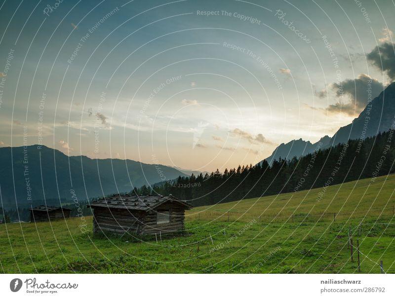 Abend auf der Alm Himmel Natur blau grün Sommer Landschaft Umwelt Berge u. Gebirge orange gold Schönes Wetter ästhetisch Alpen Hütte Alm Almwirtschaft