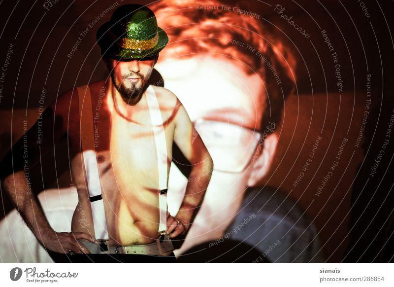 big brother is watching you Mensch Mann Erwachsene Stil Party Paar Hintergrundbild glänzend maskulin beobachten Brille Spitze Show Hut Kontrolle Partner