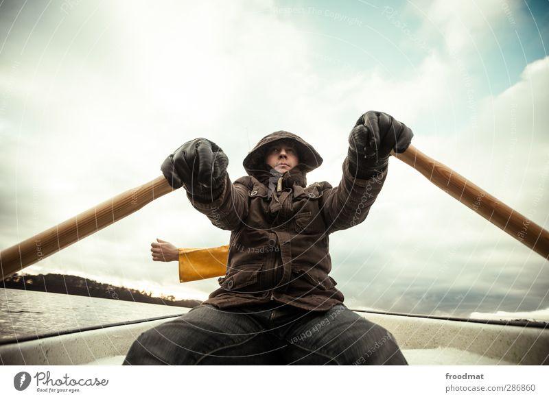 black friday - dreiarmiger bandit Mensch Himmel Ferien & Urlaub & Reisen Jugendliche Mann Wasser Junger Mann ruhig Winter kalt Erwachsene Herbst See träumen