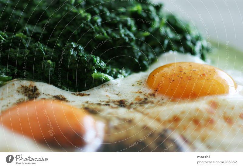 Mahlzeit Ernährung Mittagessen Abendessen gelb grün Spiegelei Spinat lecker Gesundheit Appetit & Hunger Ei Kräuter & Gewürze Farbfoto Detailaufnahme
