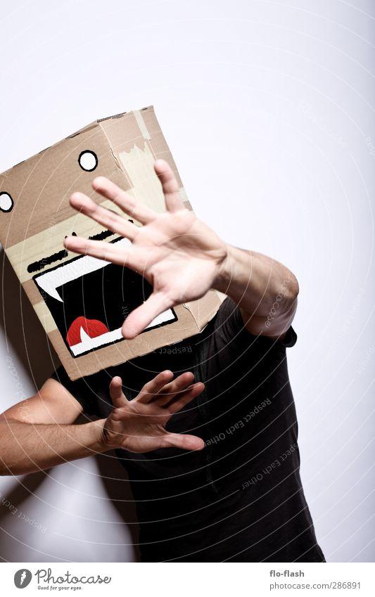 KARTOON · VIGGO maskulin Junger Mann Jugendliche Erwachsene 1 Mensch 18-30 Jahre 30-45 Jahre Theaterschauspiel Schauspieler Paket Karton Jagd kämpfen schreien