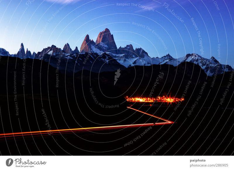 Himmel blau Ferien & Urlaub & Reisen Sommer Wolken Berge u. Gebirge Sport wandern Abenteuer Fluss rein Bach abgelegen Chile Kleinstadt Patagonien