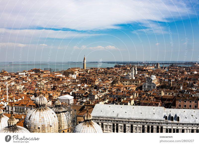 Luftaufnahme von Venedig vom Glockenturm aus schön Ferien & Urlaub & Reisen Tourismus Sommerurlaub Meer Insel Haus Landschaft Himmel Frühling Küste See