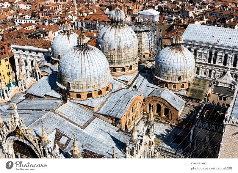 Panoramablick auf Venedig mit St. Mark's Domkuppeln Ferien & Urlaub & Reisen Tourismus Meer Insel Karneval Landschaft Frühling Sommer Stadt Hauptstadt Skyline