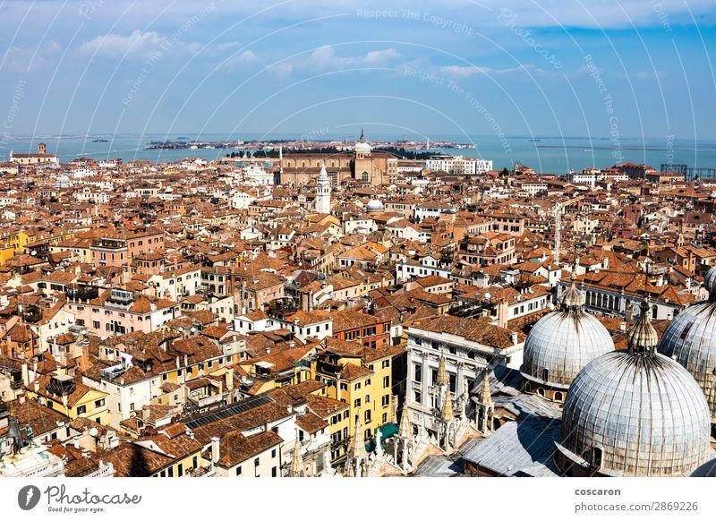 Luftaufnahme von Venedig vom Glockenturm aus schön Ferien & Urlaub & Reisen Tourismus Sommer Meer Haus Hausbau Landschaft Himmel Küste Stadt Hauptstadt Skyline