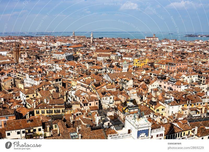 Luftaufnahme von Venedig vom Glockenturm aus schön Ferien & Urlaub & Reisen Tourismus Sightseeing Meer Haus Karneval Landschaft Himmel Stadt Skyline Kirche