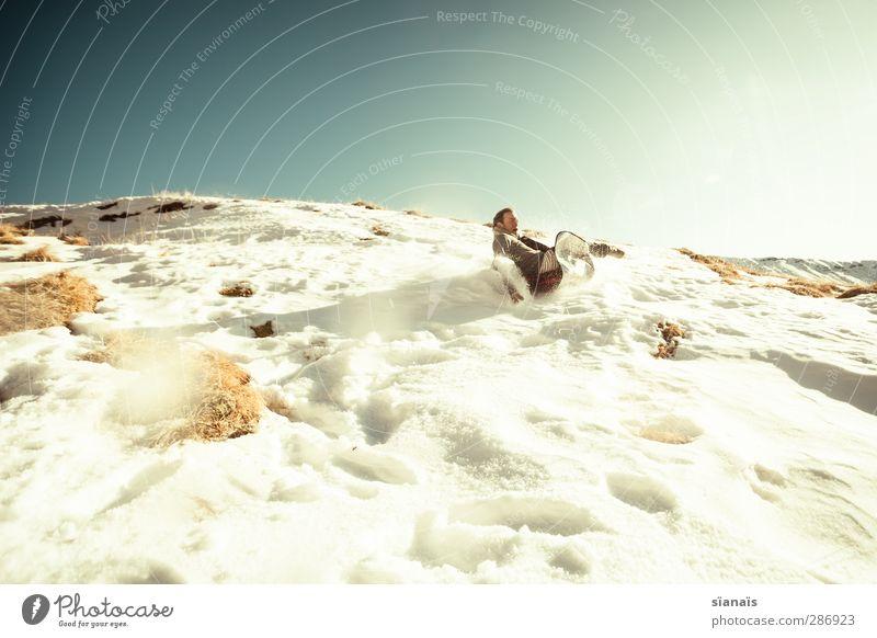 da kommt was... Mensch Natur Mann Winter Erwachsene Leben Schnee lustig Spielen maskulin Eis Kreativität gefährlich Geschwindigkeit Lebensfreude Idee