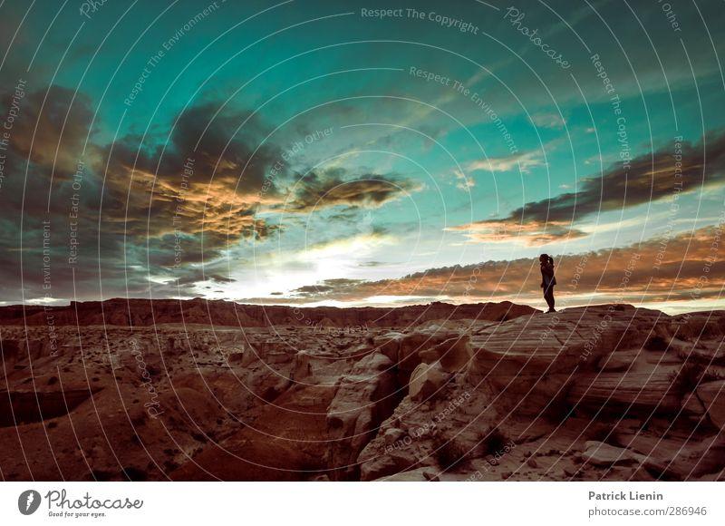 Dancing Sky Mensch Himmel Natur Ferien & Urlaub & Reisen Sommer Pflanze Sonne Wolken Landschaft Ferne Umwelt Berge u. Gebirge feminin Freiheit Luft Horizont