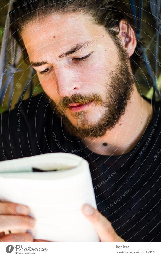 reader Mann Mensch Jugendliche Junger Mann Bart Vollbart Buch lesen Hängematte liegen Erholung ruhig Roman Ferien & Urlaub & Reisen Europäer Kaukasier