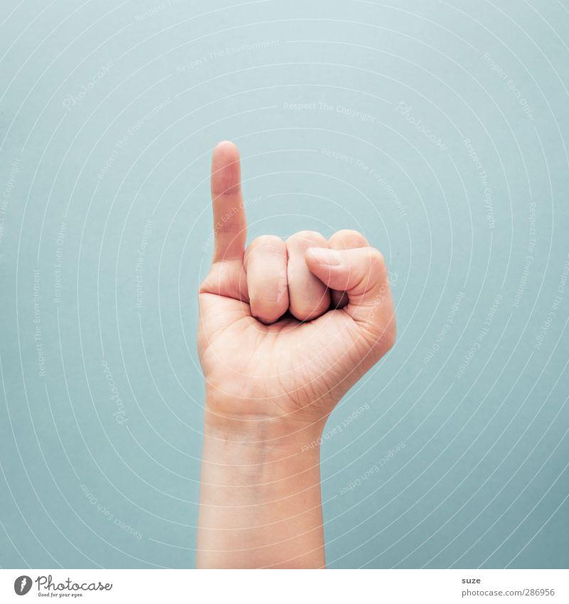 Kleiner schlimmer Finger Hand hell Arme Haut Kommunizieren Coolness einfach Zeichen Europäer trendy Hinweis gestikulieren Daumen hell-blau Gebärdensprache