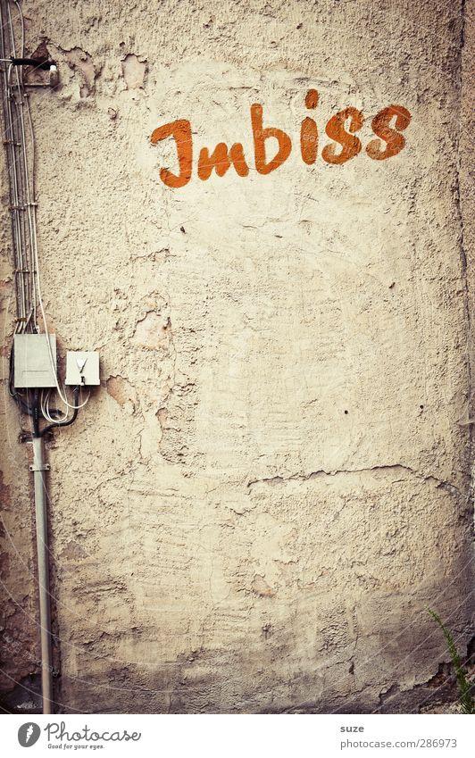 Das Auge isst mit Ernährung Fastfood Kabel Mauer Wand Fassade Schriftzeichen Graffiti alt authentisch einfach kaputt trist trocken Verfall Vergangenheit
