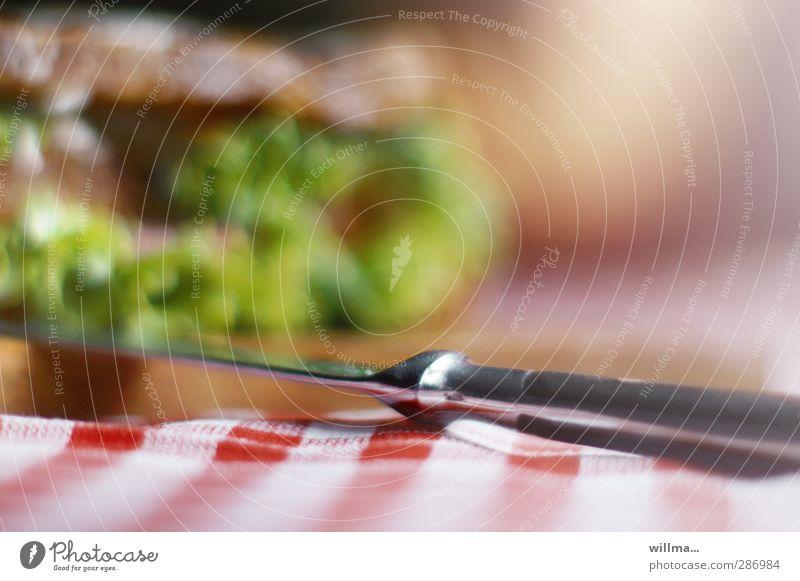 auf messers schneide. Gesunde Ernährung Appetit & Hunger lecker Frühstück Brot Abendessen kariert Salat Tischwäsche Salatbeilage Vegetarische Ernährung Fastfood