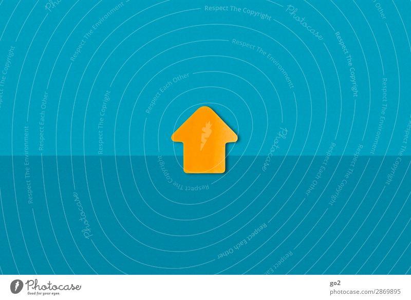 Aufwärts blau Wege & Pfade orange oben Wachstum ästhetisch Schilder & Markierungen Erfolg Perspektive Beginn Zukunft Hinweisschild einfach Zeichen Ziel Richtung