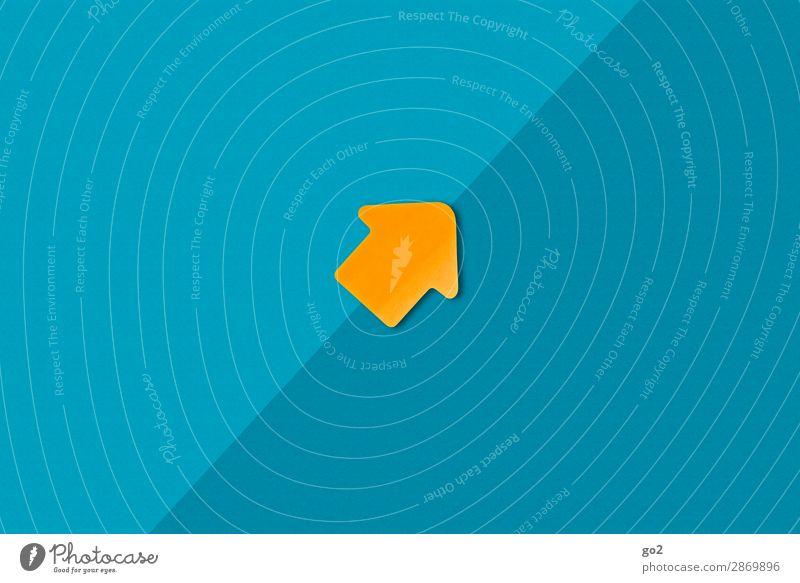 Aufwärts blau Wege & Pfade Bewegung Business orange Erfolg Beginn Zukunft Papier Idee einfach Zeichen planen Güterverkehr & Logistik Ziel Pfeil