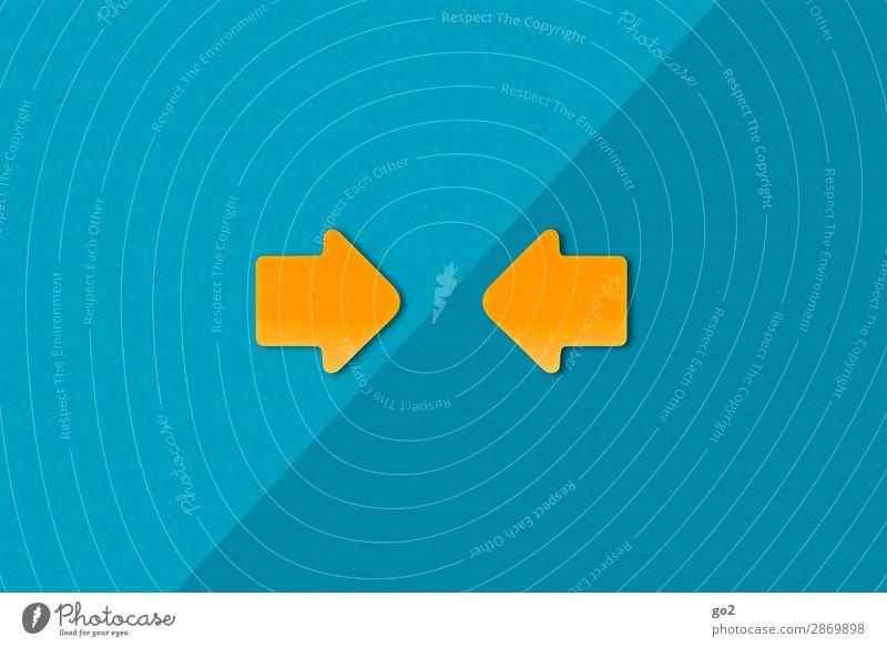 Treffpunkt blau gelb sprechen orange Zufriedenheit Kommunizieren ästhetisch Zeichen Team Ziel Richtung Kontakt Pfeil Partnerschaft Sitzung Konzentration
