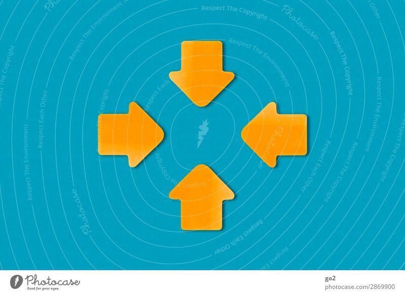 Meeting Wirtschaft Güterverkehr & Logistik Dienstleistungsgewerbe Sitzung sprechen Team Zeichen Pfeil ästhetisch Zusammensein blau orange Zufriedenheit