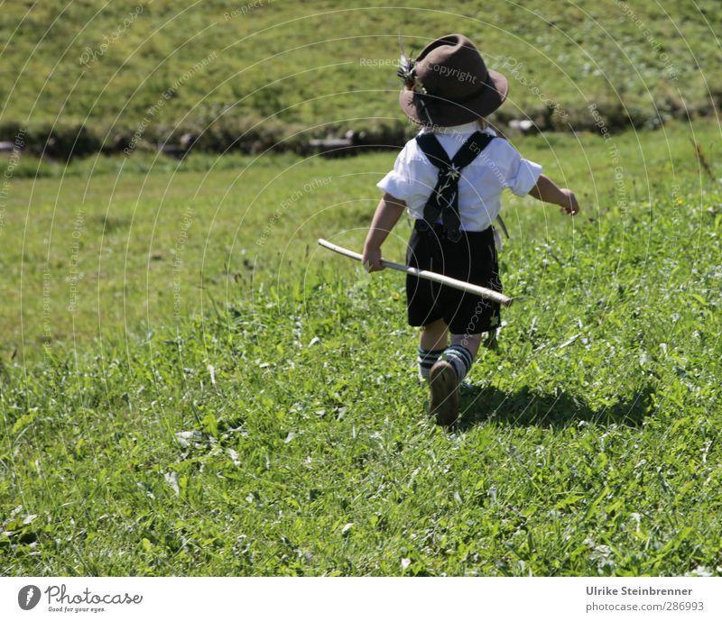 ... in die weite Welt hinein! Mensch Kind schön Wiese Berge u. Gebirge Leben Gras Junge Freiheit Glück Feld Kindheit maskulin laufen wandern Ausflug