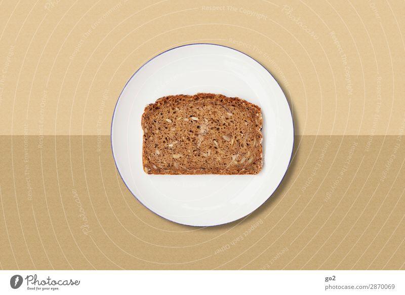 Brotscheibe auf Teller Lebensmittel Teigwaren Backwaren Ernährung Frühstück Abendessen Vegetarische Ernährung Diät Fasten Geschirr Gesundheit Gesunde Ernährung