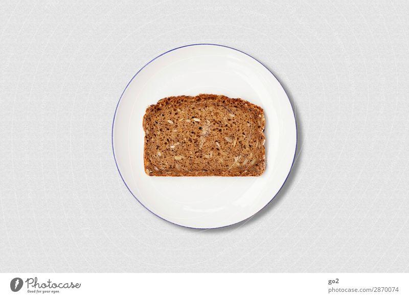 Brot auf Teller Lebensmittel Teigwaren Backwaren Ernährung Frühstück Bioprodukte Vegetarische Ernährung Diät Fasten Gesunde Ernährung ästhetisch einfach