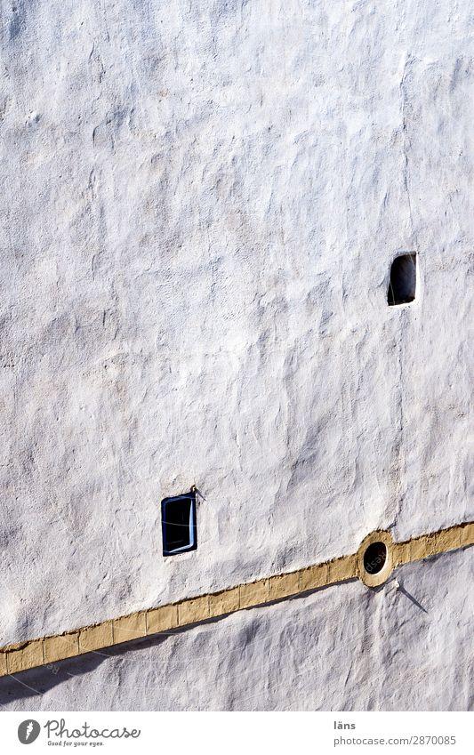 korrespondierende Wand Haus Essaouira Marokko Mauer Fassade Fenster einfach einzigartig Kontrolle Schutz Sicherheit Rückzug abweisend Farbfoto Außenaufnahme