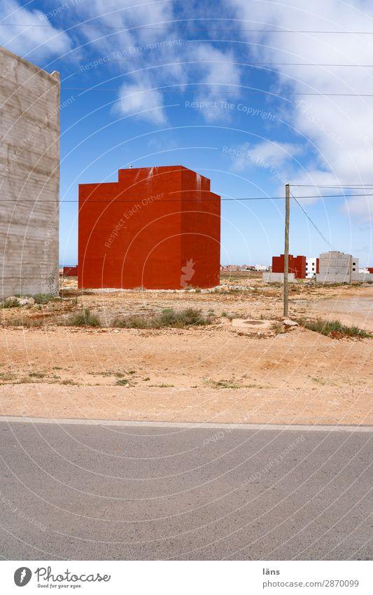 Neubaugebiet ll Marokko Menschenleer Haus Straße Himmel Dorf