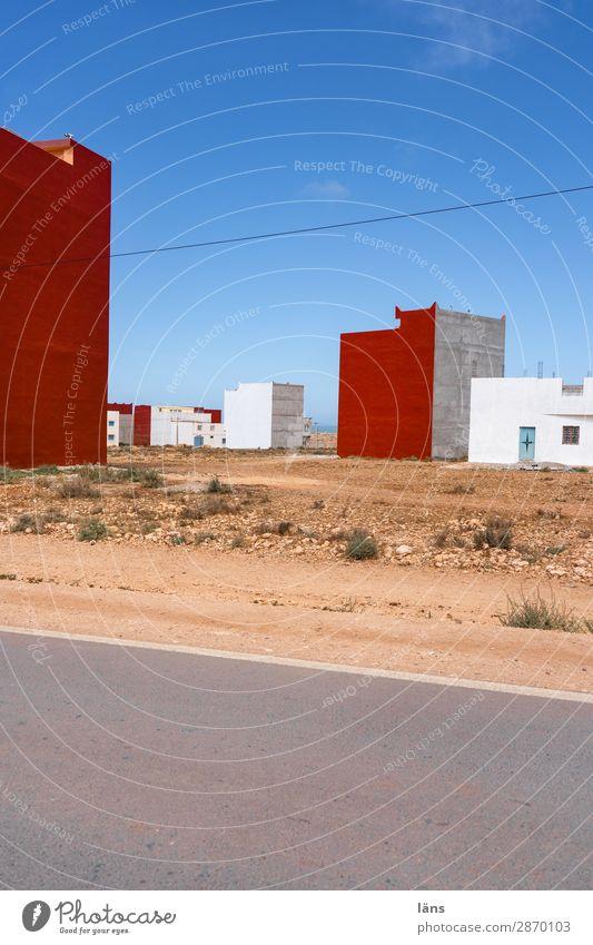 Neubaugebiet Haus Landschaft Marokko Afrika Dorf Bauwerk Gebäude Mauer Wand Fassade Straße einfach neu Beginn karg Farbfoto Außenaufnahme Menschenleer Tag