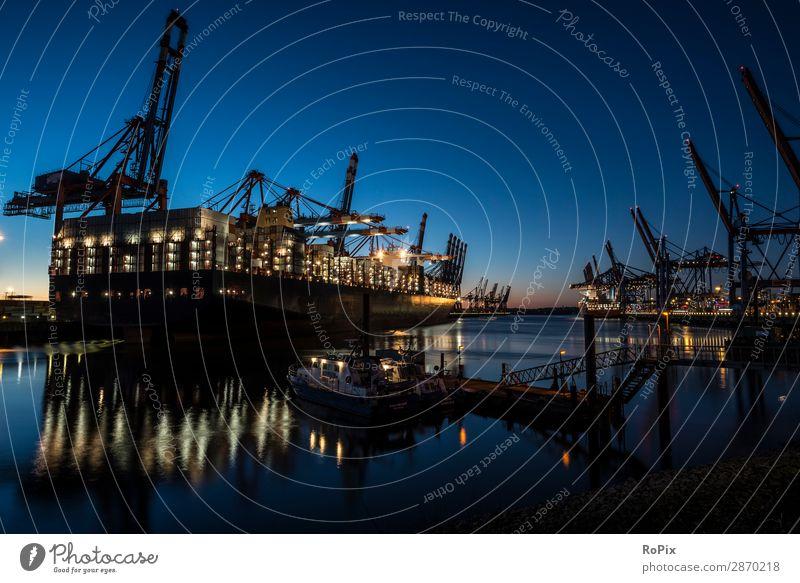 Containerterminal im Hamburger Hafen. Ausflug Abenteuer Ferne Sightseeing Arbeit & Erwerbstätigkeit Wirtschaft Industrie Handel Güterverkehr & Logistik Maschine