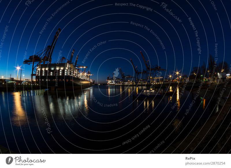 Containerterminals im Hamburger Hafen. Ferien & Urlaub & Reisen Tourismus Wissenschaften Arbeit & Erwerbstätigkeit Handwerker Arbeitsplatz Baustelle Wirtschaft