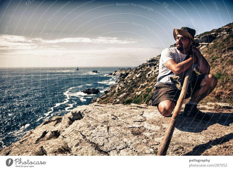 Gandalf der Junge Mensch maskulin Junger Mann Jugendliche Erwachsene Leben Körper 1 18-30 Jahre Wasser Himmel Wolken Horizont Schönes Wetter Wellen Küste Meer