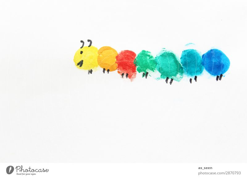 Regenbogen Raupe Freizeit & Hobby malen Familie & Verwandtschaft Leben Natur Frühling Sommer Tier Schmetterling 1 Bewegung krabbeln Lächeln Freundlichkeit