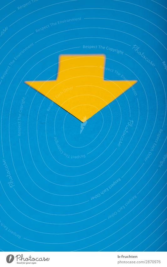 Vergangenheit Wirtschaft Business Karriere Erfolg Papier Zeichen Pfeil wählen beobachten blau gelb Beginn Gesellschaft (Soziologie) Vergänglichkeit