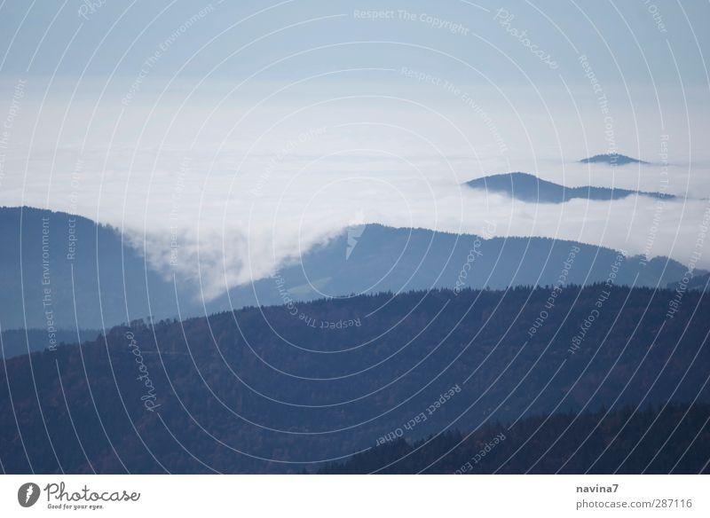 Kriechnebel Himmel blau weiß Wolken Ferne Berge u. Gebirge kalt Horizont fliegen Klima Nebel wandern Perspektive Alpen Gipfel Unendlichkeit