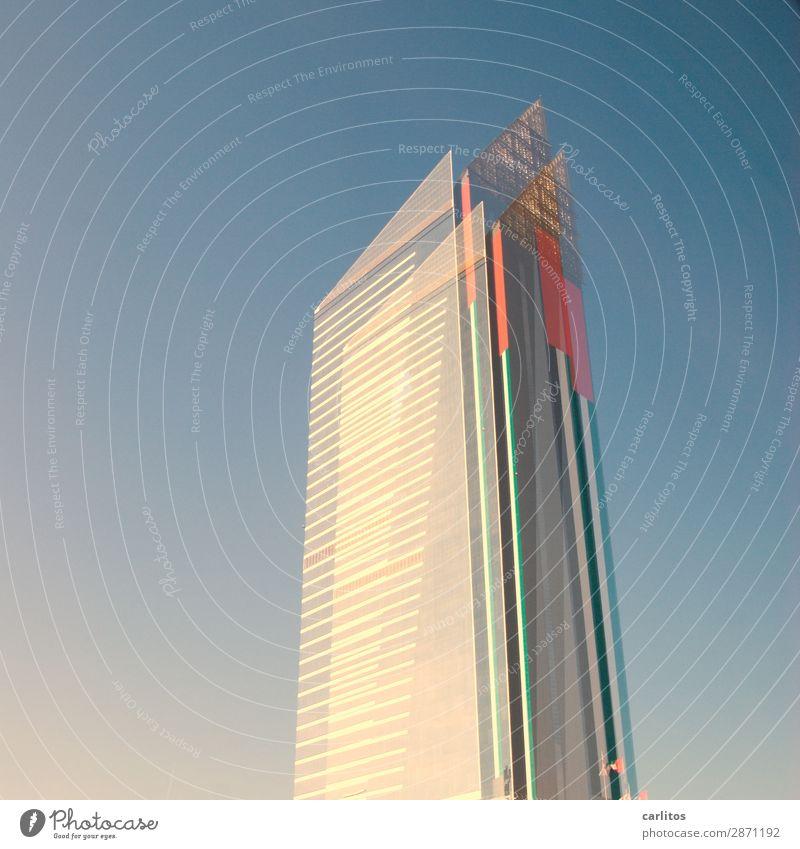 Sehtest rot Hochhaus Spitze Geld Hauptstadt Geldinstitut Bankgebäude Wirtschaft Doppelbelichtung Großstadt Kapitalwirtschaft gigantisch Dubai Koloss