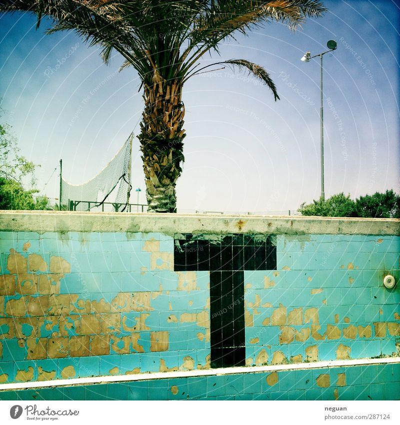 Leben in der Wüste #2 Wellness Schwimmbad Whirlpool Umwelt Baum Dorf Menschenleer Schwimmen & Baden alt authentisch sportlich blau mehrfarbig Israel jüdisch