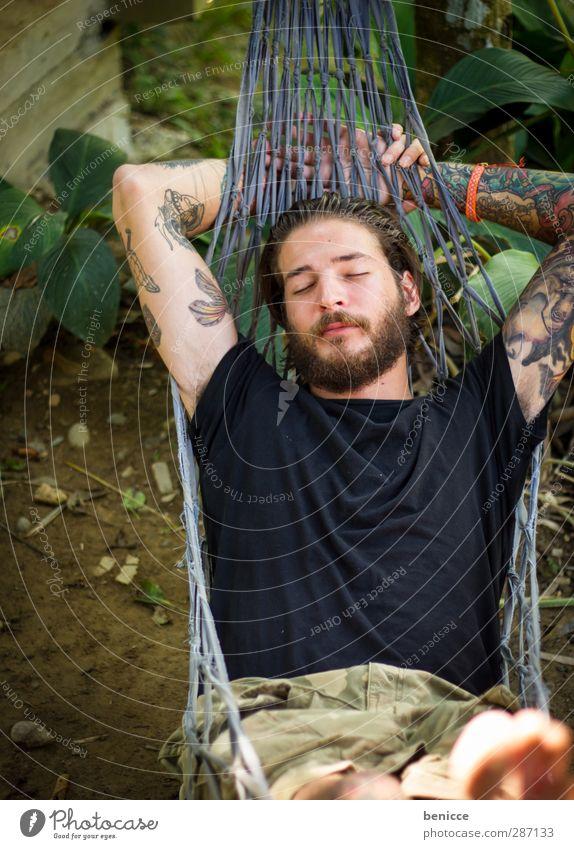 power napping Mann Mensch 20-30 jahre liegen Hängematte schlafen Auge geschlossen Bart Vollbart Europäer Kaukasier Vogelperspektive Natur Außenaufnahme Wald