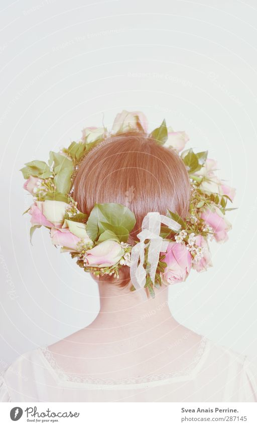 ! Mensch Frau Jugendliche schön Blume Blatt Erwachsene Junge Frau feminin Frühling Haare & Frisuren Blüte 18-30 Jahre hell Mode natürlich