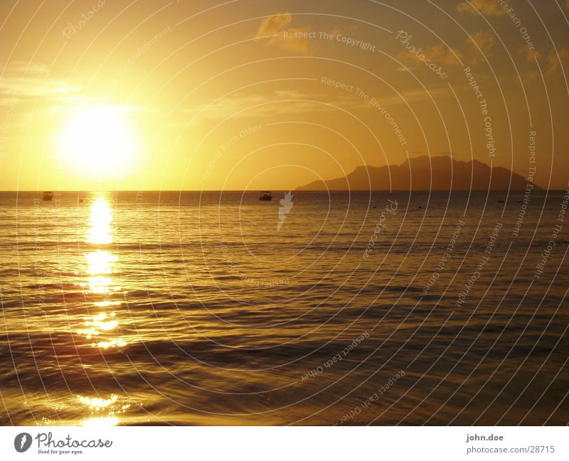 Sonnenuntergang Meer Sommer Seychellen Ferien & Urlaub & Reisen Los Angeles Insel