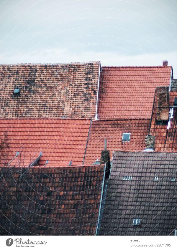 Alles bedacht Haus Dach Schornstein Häusliches Leben alt einzigartig Gelassenheit Kontakt Perspektive ruhig Vergänglichkeit Backstein Muster Farbfoto