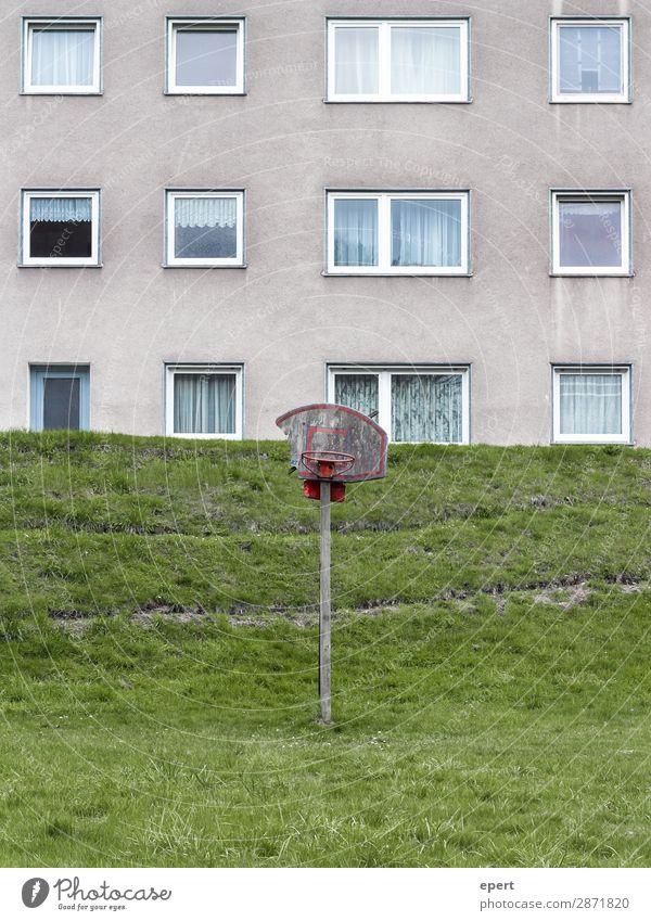 Ein Hang zum Sport Freizeit & Hobby Spielen Haus Ballsport Basketball Wiese Fassade Fenster alt Häusliches Leben dreckig kaputt trashig Langeweile Unlust bizarr