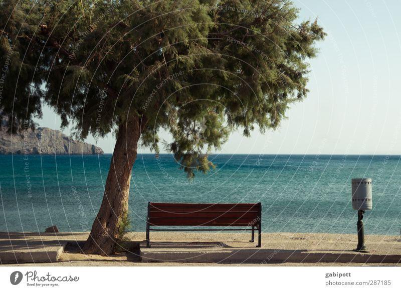 entspann dich Natur Landschaft Wasser Himmel Wolkenloser Himmel Horizont Sonnenlicht Sommer Schönes Wetter Baum Küste Meer Insel Kreta Freundlichkeit frisch