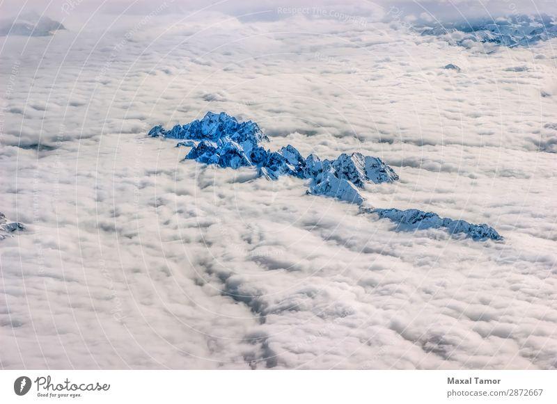 Alpen über den Wolken Ferien & Urlaub & Reisen Winter Schnee Berge u. Gebirge Natur Landschaft Himmel fliegen blau weiß Europa Frankreich Italien Adrenalin