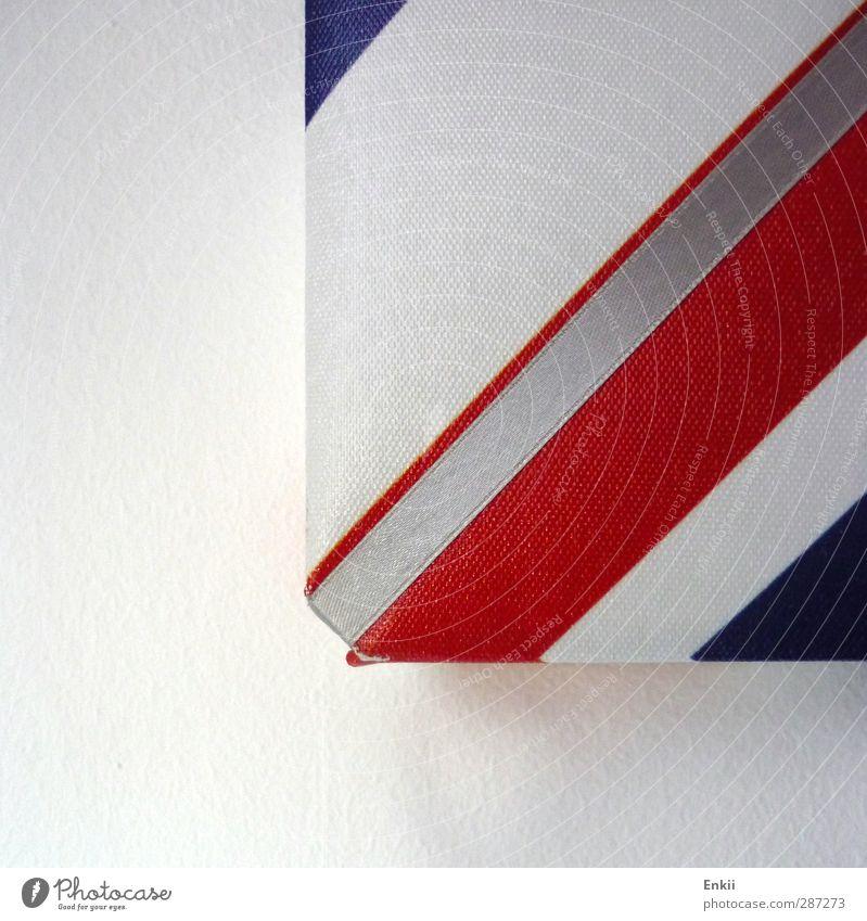 Pinnwandecke Dekoration & Verzierung Beton Kunststoff Linie Streifen Häusliches Leben eckig einfach hell blau grau rot weiß Reinheit Design Farbe modern Fahne