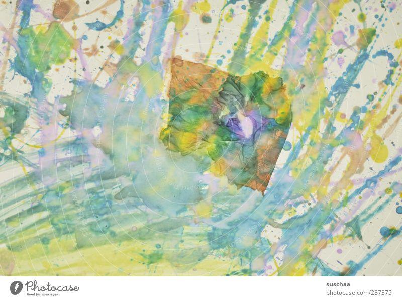 häppi börsdäi pc! Kunst Kunstwerk Gemälde Tropfen Flüssigkeit verrückt schön blau Papier Farbe Aquarell Spritzer Schmiererei verschmiert mehrfarbig