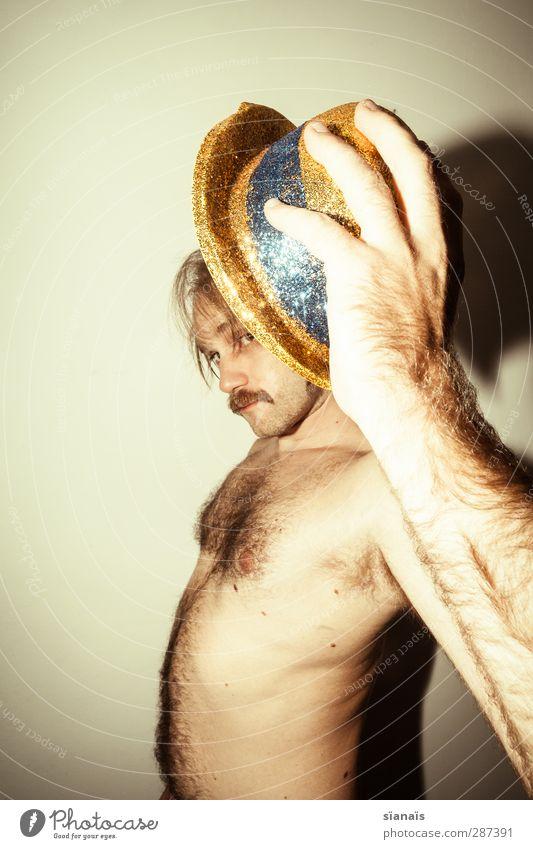 chap haut, photocase! Mensch Mann Freude Erwachsene nackt Erotik lustig Stil Feste & Feiern maskulin Behaarung Fröhlichkeit verrückt einzigartig Hut Karneval