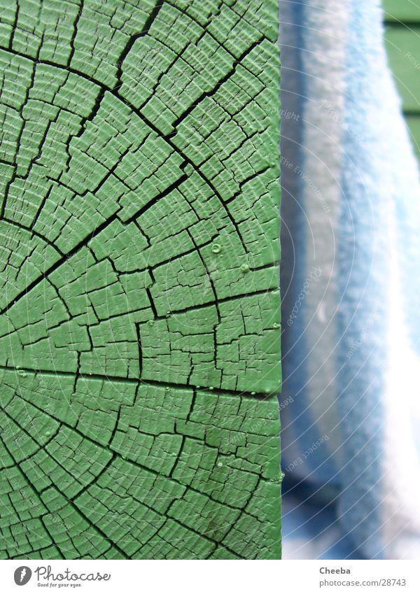 Grün und Blau Holz grün Handtuch gestreift hart weich Makroaufnahme Nahaufnahme Riss Maserung
