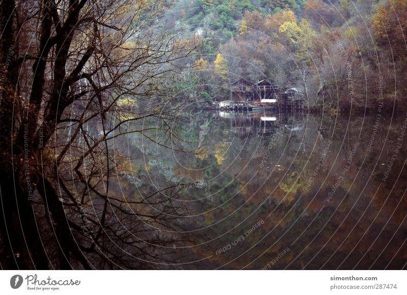 Einsam Ferien & Urlaub & Reisen Ausflug Abenteuer Ferne Freiheit Berge u. Gebirge Haus Traumhaus Natur Landschaft Wasser Herbst Winter schlechtes Wetter Nebel
