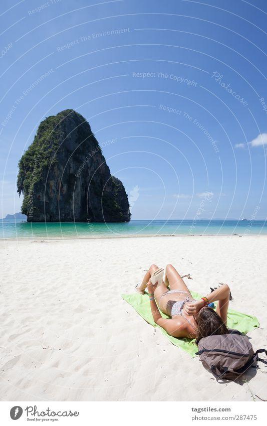 Weltreise Thailand Krabi Phra Nang Phra Nang Beach Phra Nang Cave Frau dünn zierlich Andamanensee Ferien & Urlaub & Reisen Reisefotografie Idylle Freiheit