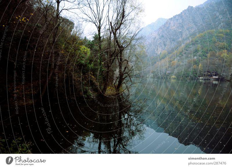 See Umwelt Natur Landschaft Wasser Herbst Winter Nebel Wald Felsen Berge u. Gebirge Schlucht Küste Seeufer Flussufer Bucht Fjord skopje mazedonien Skandinavien