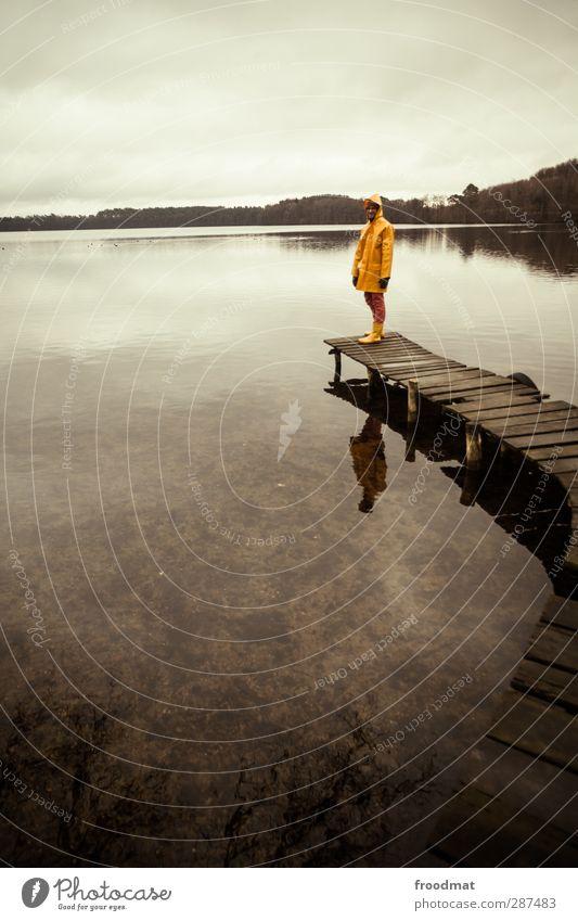 sackgasse Mensch Himmel Mann Wasser ruhig Winter Landschaft Erholung Erwachsene kalt Herbst See Regen Wetter maskulin Freizeit & Hobby