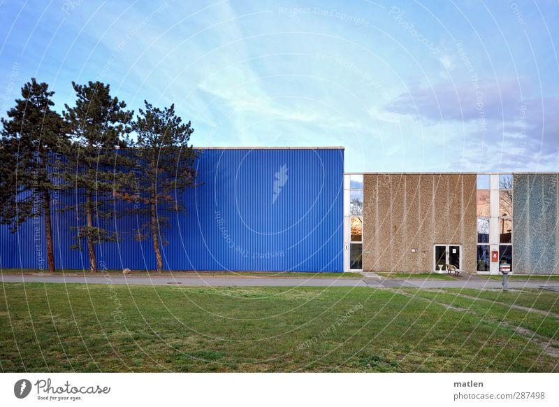 Dreierlei Arbeitsplatz Industrie Himmel Wolken Baum Gras Wiese Menschenleer Fassade blau braun grün Lagerhalle Container Wege & Pfade Mauer Farbfoto